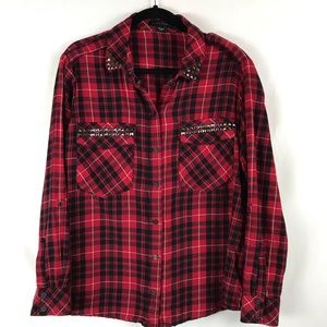 Sanctuary Boyfriend Shirt Studded Plaid Snaps Med
